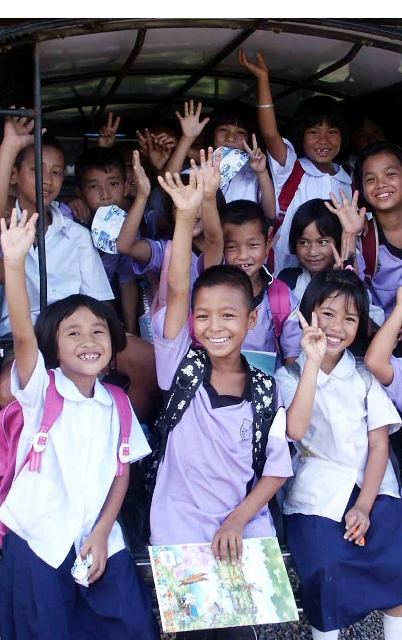 Happy children, supported by Hope for Life and Omikron