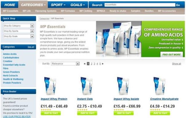 """MyProtein Screenshot """"MPEssentials"""""""