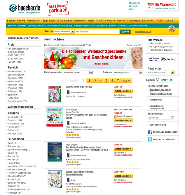 buecher.de seasonal Christmas page with suitable results and banners
