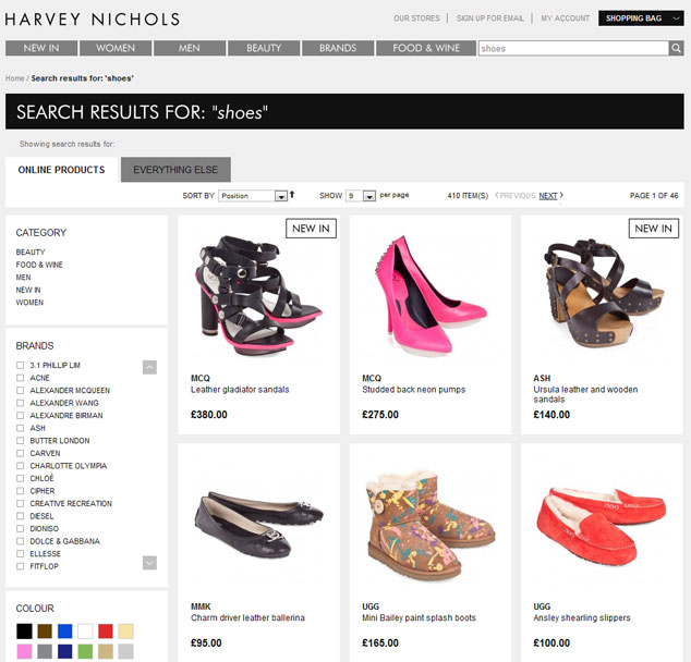manually controlled result page in the online shop of harvey nichols