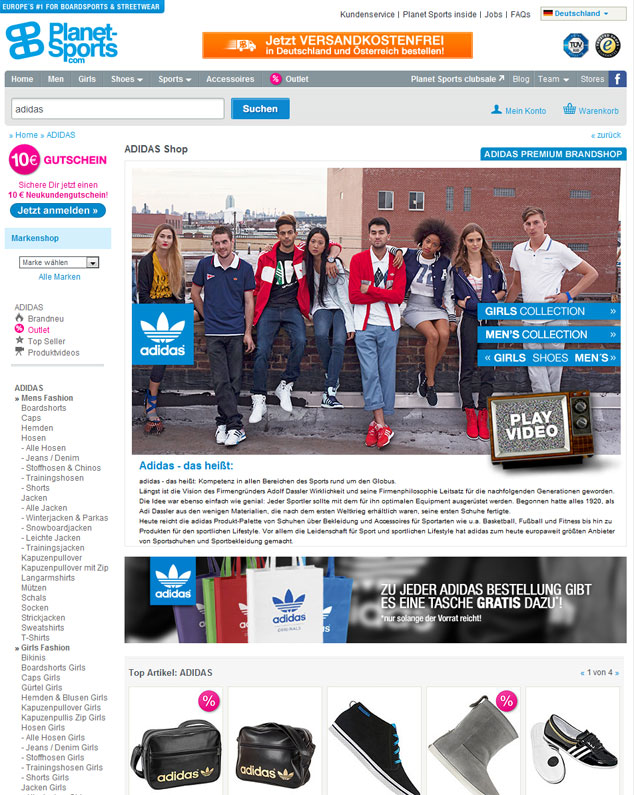 optimised brand name page for adidas in the online store of planet-sports
