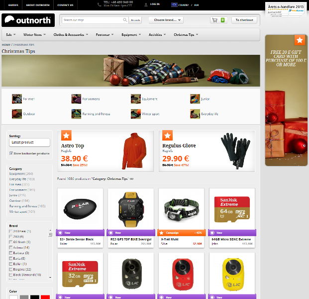 Sales-boosting Christmas merchandising by Outnorth, one of Scandinavia's leading online stores in the outdoor activities.