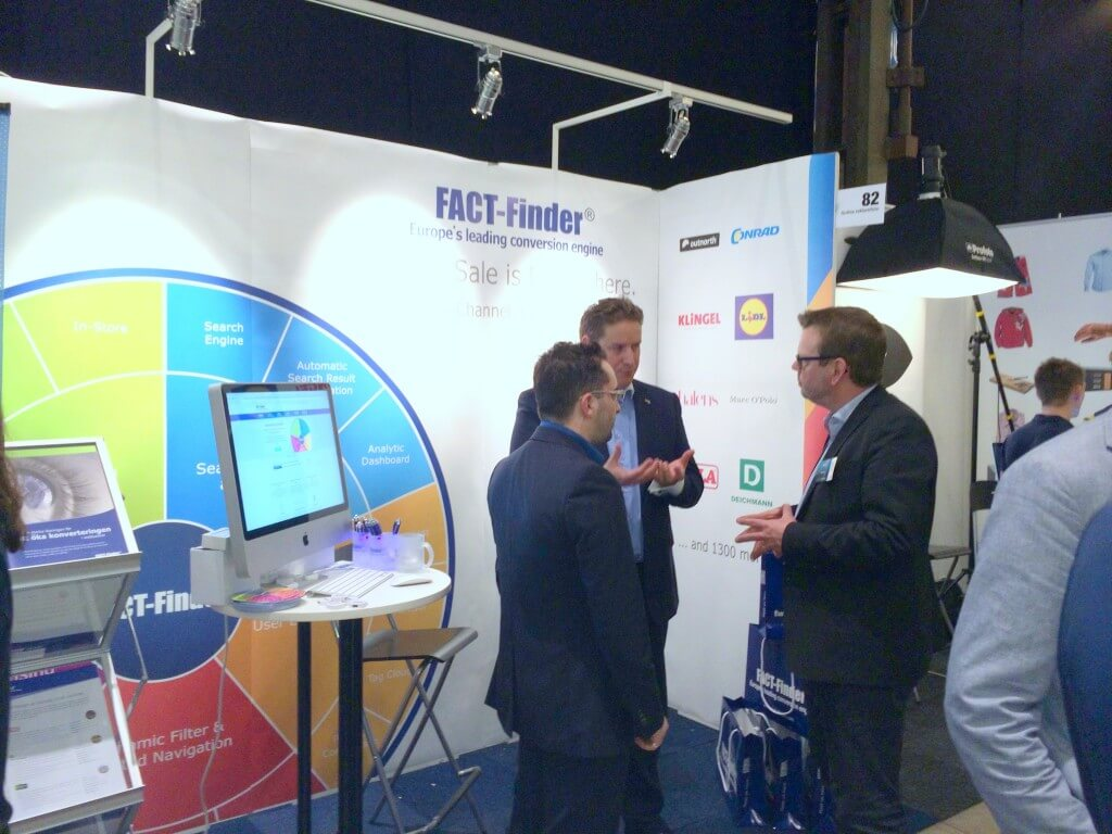 On-site search for coss channel scenarios, product data quality and internationalisation: At the FACT-Finder booth, we had many topics of conversation regarding the implementation of technical challenges in digital commerce.