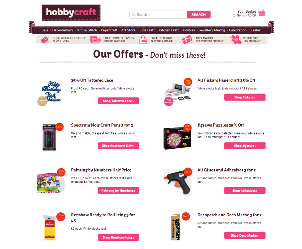 Search quest without search term at Hobbycraft.co.uk: Instead of a 0-result page, the on-site-search displays current offerings.