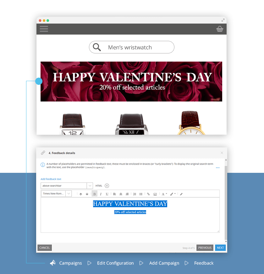 Easily create Valentine's Day merchandising campaigns