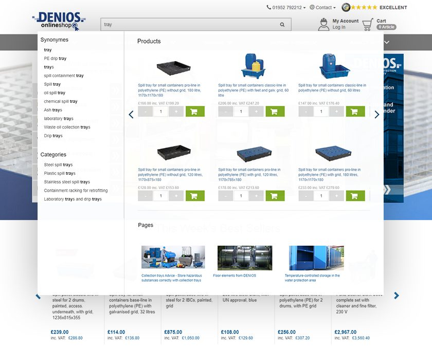 """DENIOS uses FACT-Finder technology to display products, categories, and content within the search using the Suggest function. DENIOS' B2B platform also gives buyers the option to fill their shopping cart directly from the suggestions menu through the 'Add-to-Basket"""" feature."""