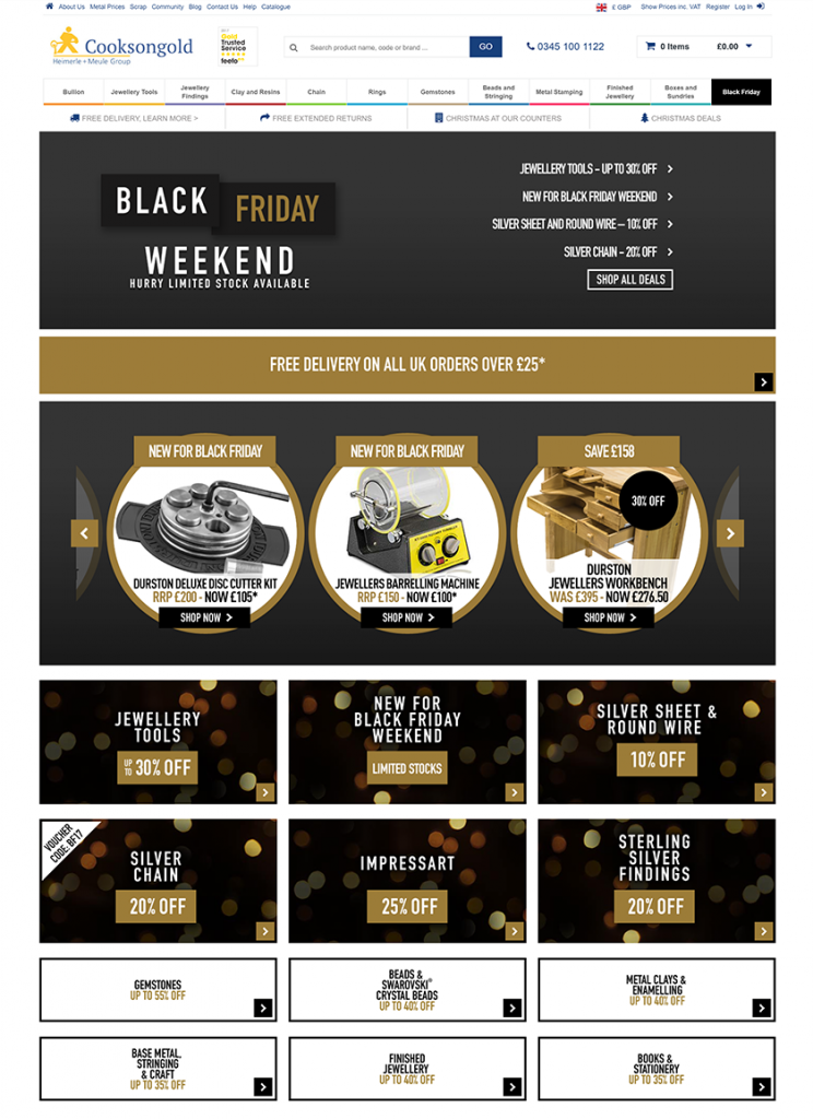 Cooksongold does online merchandising right by using attractive banners to display their Black Friday specials.