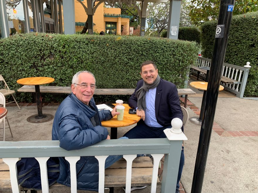FACT-Finder CEO Carsten Kraus and professor Barry Schwartz on the campus of the University of Berkeley.