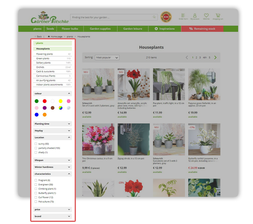 Gardener Poetschke's online shop features dynamic filters for their houseplants, including color, sun exposure and more.