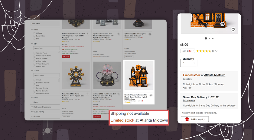 The first six search results feature only two items that are actually available for online purchase.
