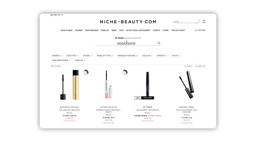 A search for a misspelled version of mascara yields 61 relevant product results thanks to error-tolerant technology.