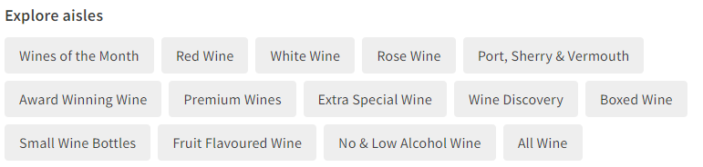 Asda's categories for wine in their online shop