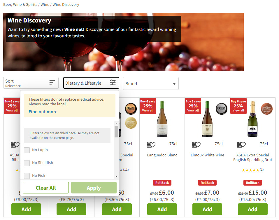 Irrelevant filters for wine in Asda's online shop.