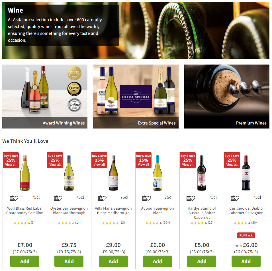 Landing page on Asda's online shop for wine