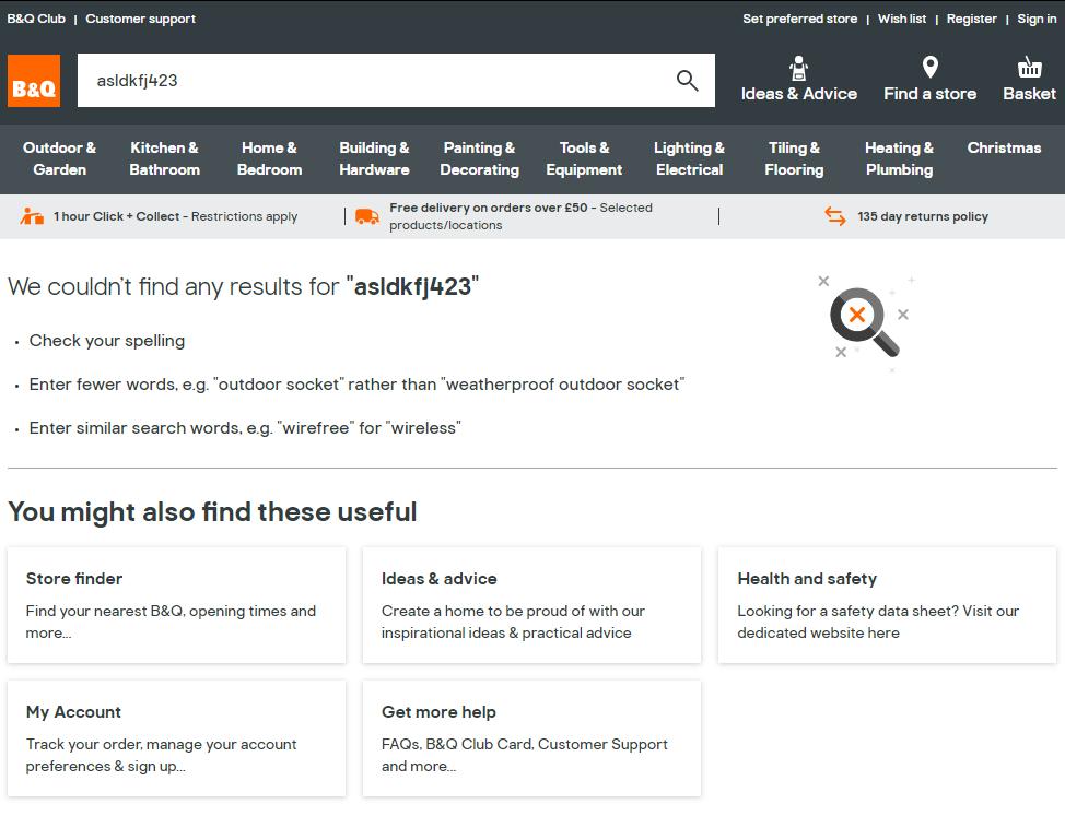Screenshot of B&Q's online shop when zero results are found.