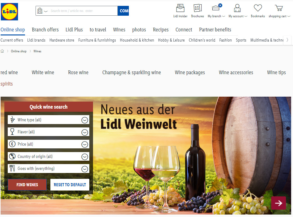 Lidl's wine finder, matched to dynamic product filters.