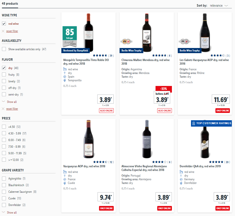 Screenshot of Lidl's product filters when searching for wine.