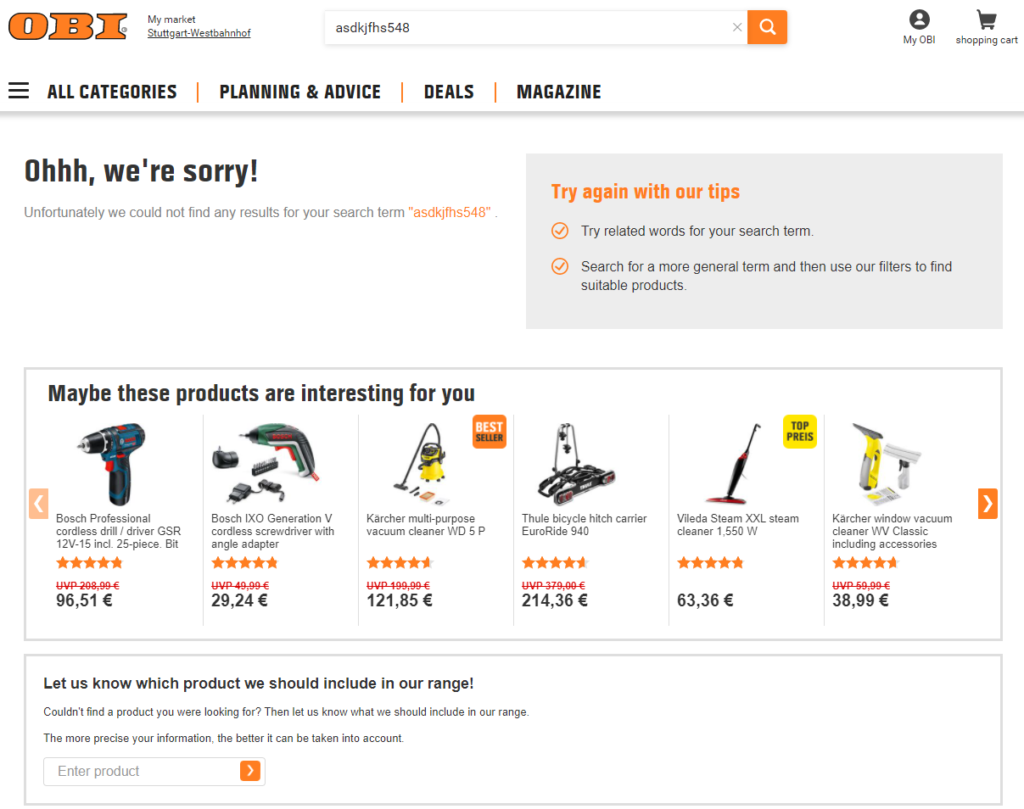 Screenshot of OBI's online shop when zero results are found.