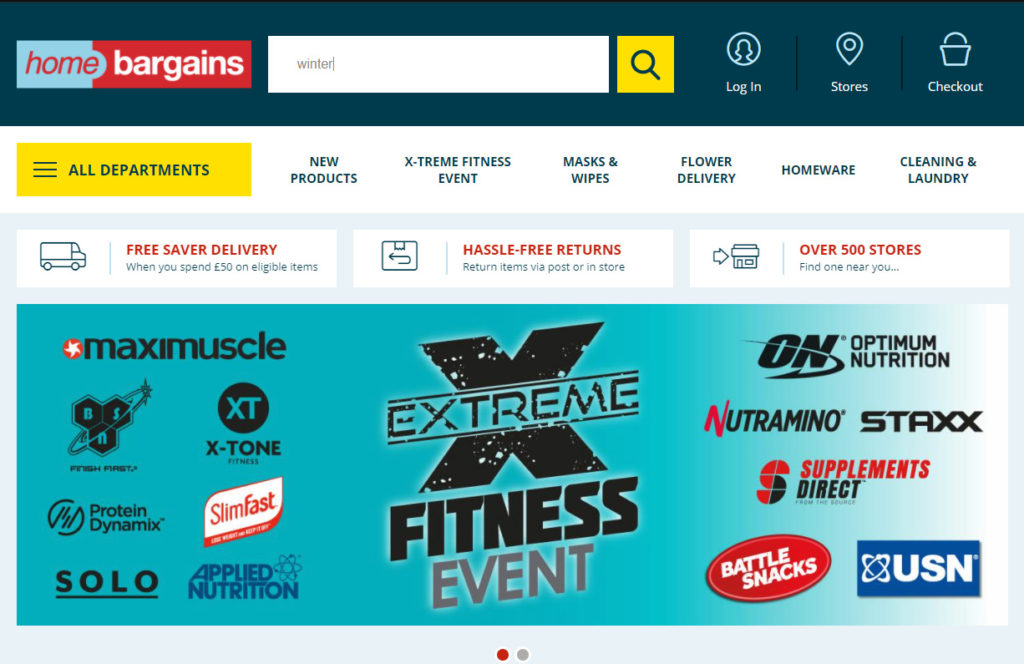 homepage for Home Bargains - unfortunately, without any suggestions in the search bar