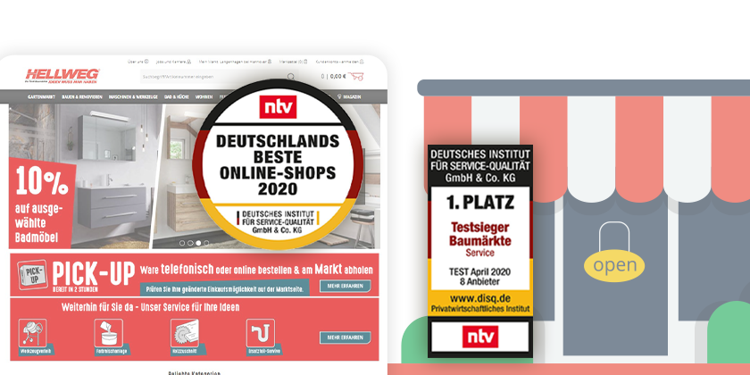 Hellweg is awarded for excellent performance, both in their physical DIY stores and the online shop.