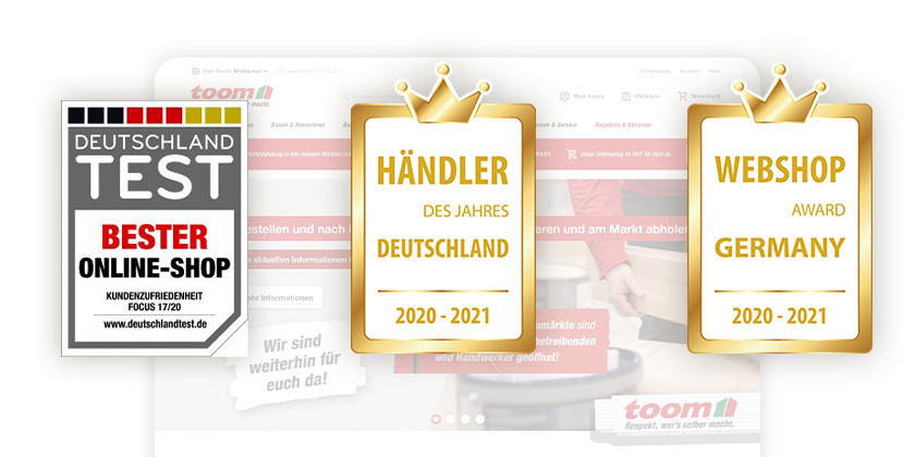 Toom's online shop wins Germany's test for best online shop and the Webshop award.