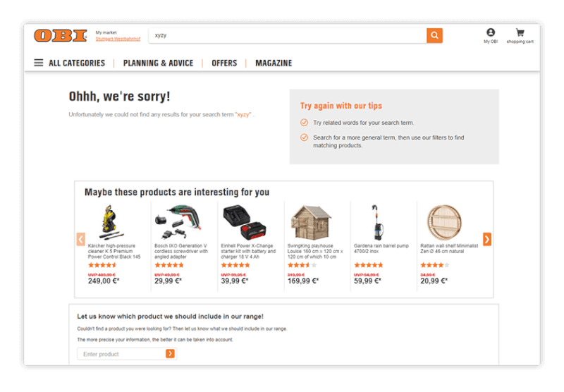Online shop, OBI, recommends best seller products when no results are found