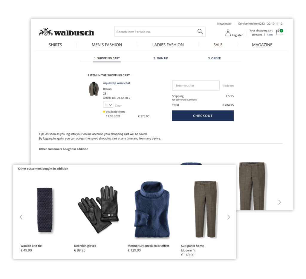Online shop, Walbusch, recommends products: scarf, gloves, turtleneck and pants