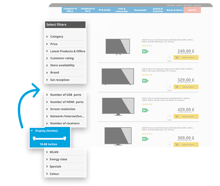 FACT-Finder Customer Journey: Filters automatically adjust based on product category and how often they are used by customers